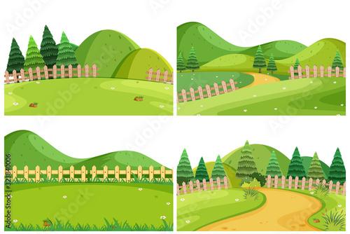 Obraz A set of outdoor scene including hills - fototapety do salonu