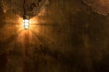 Worn Grunge Wall With Light. A...