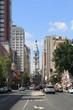 Street view of downtown Philadelphia in PA