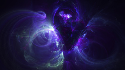 Abstract blue and violet glowing shapes. Fantasy light background. Digital fractal art. 3d rendering.
