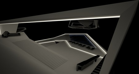 Abstract architectural black and white interior of a modern villa with neon lighting. 3D illustration and rendering.