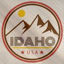 Retro Idaho Mountain Label On ...