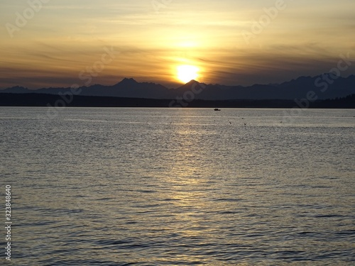 Beach sunset over the Olympic Mountains