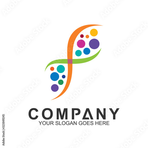 creative DNA logo design template, DNA symbol with colorful bubbles