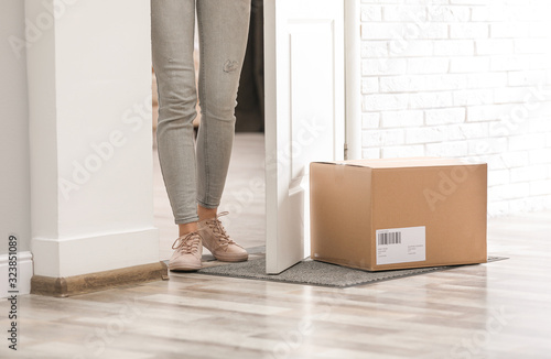Valokuvatapetti Woman in doorway and parcel on rug, closeup. Delivery service