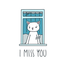 I Miss You. Illustration Of Sa...