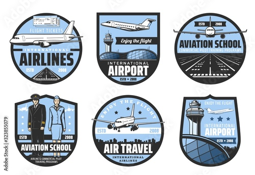 Photo Plane, airport, pilot and flight attendant vector badges of air travel and aviation school design