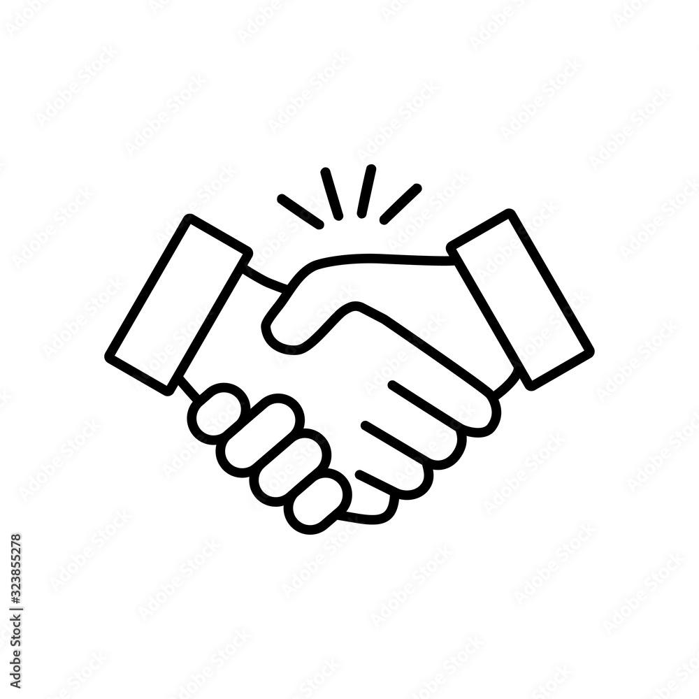 Fototapeta Handshake icon vector design illustration on a white background