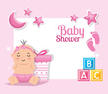 Baby Shower Card With Baby Gir...