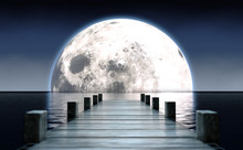 Pier And Moon On Water Horizon