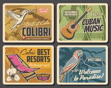 Cuba Travel Vector Posters Of Cuban Beach Resorts And Tourism Design. Map Of Tropical Island, Caribbean Royal Palm Tree And Parrot, Cuban Tres Guitar, Mariposa Flowers, Colibri And Lounge Chair