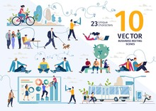 Company Employees, Freelancers, Online Entrepreneurs, Students Life Scenes And Work Situations, Planning Business Strategy, Office Routine, Distance Work Concepts Trendy Flat Vector Illustrations Set