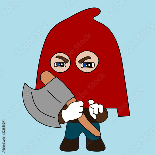 Fotografie, Tablou emoji with medieval executioner Jack Ketch wearing a hood and holding an axe, pu