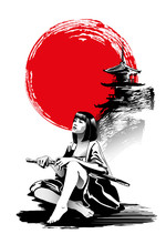 Woman Warrior, Kunoichi Is Sitting On The Background Of The Pagoda. Vector Illustration In Traditional Oriental Style.