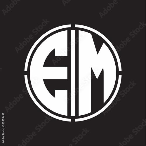 EM Logo initial with circle line cut design template Canvas Print