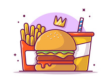 Tasty Combo Menu Cheese Burger With Crown, French Fries And Soda Vector Illustration. Flat Cartoon Style Suitable For Web Landing Page,  Banner, Flyer, Sticker, Wallpaper, Card, Background