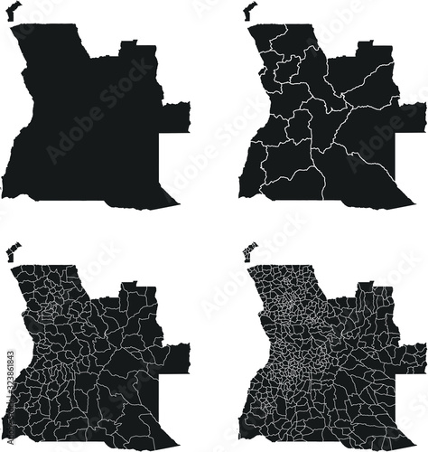 Photo Angola vector maps with administrative regions, municipalities, departments, bor