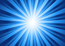 Sparkling Blue Rays In A Straight Line From The Center - Beautifully Distributed, Backgrounds, Abstract