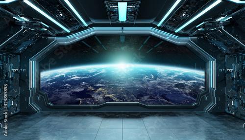Fotografie, Obraz Dark blue spaceship futuristic interior with window view on planet Earth 3d rend