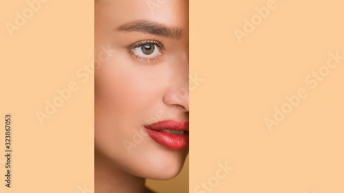Fototapety, obrazy: Beauty concept. Woman in peach paper frame