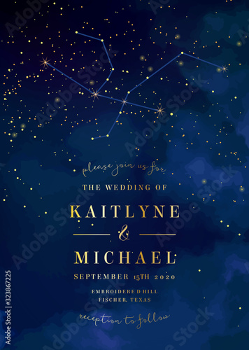 Magic night dark blue sky with sparkling stars vector wedding invitation Wallpaper Mural