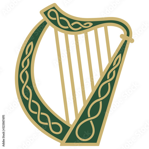 Vászonkép Ireland Harp musical instrument in vintage, retro style, illustration on the theme of St