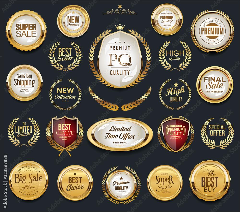 Fototapeta Golden badge labels and laurel retro vintage collection