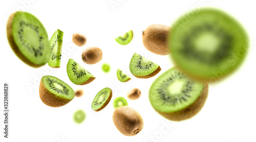 Fototapeta Kiwi fruit levitating on a white background