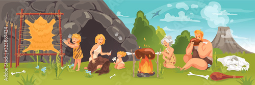 Fotografie, Tablou Prehistoric people at stone age concept