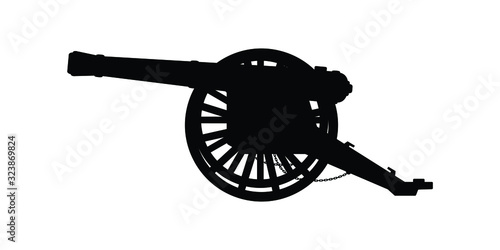Ancient cannon silhouette vector on white Wallpaper Mural