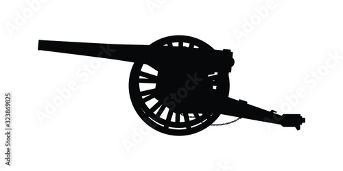 Ancient cannon silhouette vector on white Canvas Print