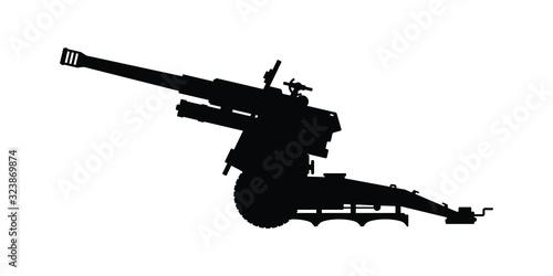 Fényképezés Modern cannon silhouette vector on white