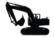 Excavator Silhouette Vector,heavy Machine On White