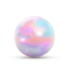 Realistic Glossy Marble Ball With Rainbow Glare On White
