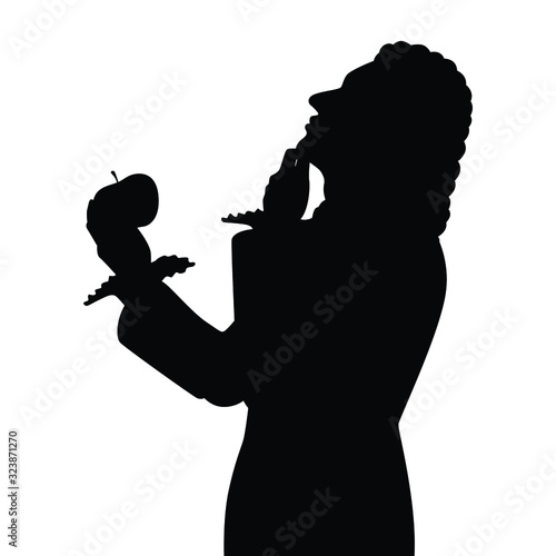 Photo Scientist with apple silhouette vector