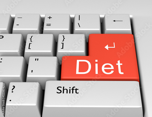 Photo Word Diet is written on a computer keyboard