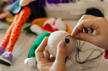 Making Colored Crochet Rabbit.