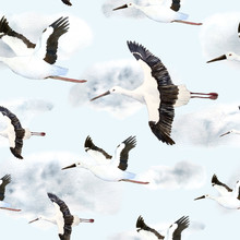 Watercolor Hand Drawn Seamless Pattern With Oriental Stork Crane Flying Sky Cloud Neutral Calm Soft Natural Colors Grey Blue White Endangered Species Birds Animals For Nature Lovers  New Born Baby