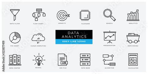 Data Analytics an AI icon set - minimal thin outline, web icon and symbol collection – Data filter, veracity, platform, analytics, cloud computing, mining, reveal Wallpaper Mural