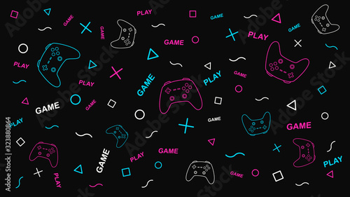 Fototapeta Game background with gamepad and graphic elements. Joystick sign. Outline design vector illustration. obraz