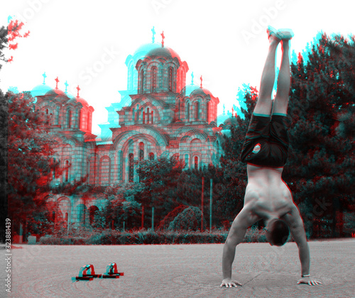 Photo 3D, anaglyph, stereographic, three-dimensional, depth, glasses, blue, red, photo