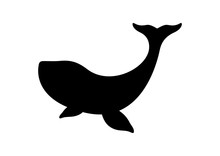 Whale Black Silhouette Vector. Whale Isolated On A White Background. Whale  Silhouette Clip Art. Whale Icon Vector