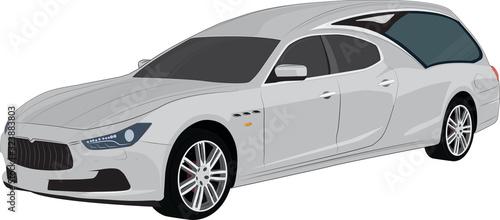 Moderno carro funebre color argento, hearse luxury transport Canvas Print