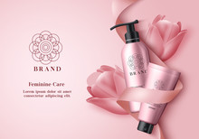Cosmetic Products Vector Banner Template. Feminine Product Bottles For Body Skin Care With Pink Tulip Flower In Elegant Background Design For Promotional Purposes. Vector Illustration