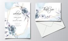 Navy Blue Floral Wedding Invit...
