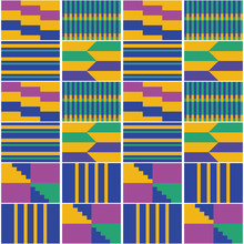 African Geometric Kente Cloth Style Vector Seamless Textile Pattern, Tribal Nwentoma Design In Yellow, Green, Purple And Navy Blue