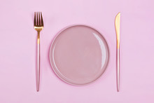 Empty Pink Plate And Elegant C...