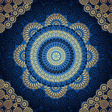 Damask Gold Seamless Background. Filigree Oriental Luxury Ornament. Decorative Blue Pattern In Mosaic Ethnic Style.