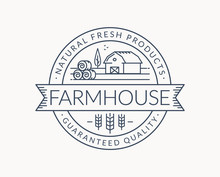 Farm Emblem With Farmhouse, Wh...
