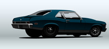 Blue Dragster. Muscle Car In V...